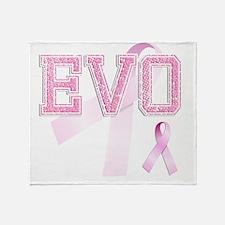 EVO initials, Pink Ribbon, Throw Blanket