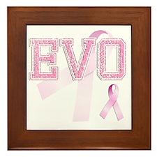 EVO initials, Pink Ribbon, Framed Tile
