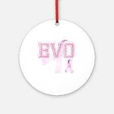 EVO initials, Pink Ribbon, Round Ornament