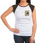 Silver Check Bald Women's Cap Sleeve T-Shirt