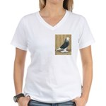Silver Check Bald Women's V-Neck T-Shirt