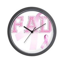 FAD initials, Pink Ribbon, Wall Clock