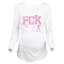 FCK initials, Pink R Long Sleeve Maternity T-Shirt