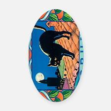 IPad The Black Cat Oval Car Magnet