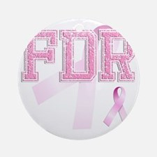 FDR initials, Pink Ribbon, Round Ornament