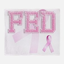 FED initials, Pink Ribbon, Throw Blanket