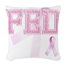 FED initials, Pink Ribbon, Woven Throw Pillow
