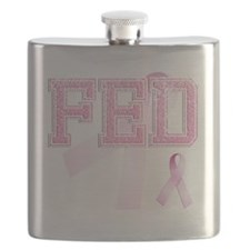 FED initials, Pink Ribbon, Flask