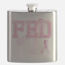 FED initials, Pink Ribbon, Flask