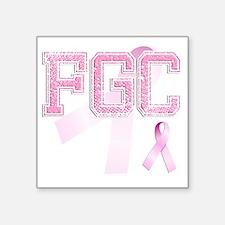"FGC initials, Pink Ribbon, Square Sticker 3"" x 3"""