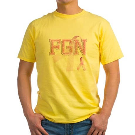 FGN initials, Pink Ribbon, Yellow T-Shirt