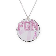 FGN initials, Pink Ribbon, Necklace