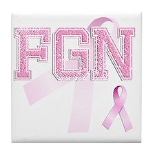 FGN initials, Pink Ribbon, Tile Coaster