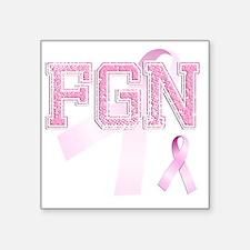 "FGN initials, Pink Ribbon, Square Sticker 3"" x 3"""