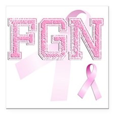 """FGN initials, Pink Ribbo Square Car Magnet 3"""" x 3"""""""