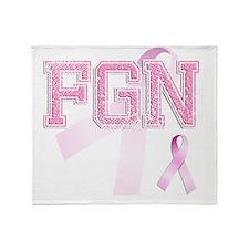 FGN initials, Pink Ribbon, Throw Blanket