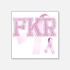 """FKR initials, Pink Ribbon, Square Sticker 3"""" x 3"""""""