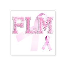 """FLM initials, Pink Ribbon, Square Sticker 3"""" x 3"""""""