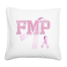 FMP initials, Pink Ribbon, Square Canvas Pillow