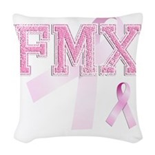 FMX initials, Pink Ribbon, Woven Throw Pillow