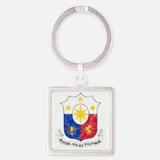 Philippines Coat of Arms cracle Square Keychain