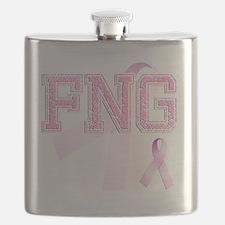 FNG initials, Pink Ribbon, Flask