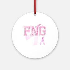 FNG initials, Pink Ribbon, Round Ornament