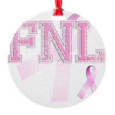 FNL initials, Pink Ribbon, Ornament