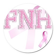 FNH initials, Pink Ribbon, Round Car Magnet
