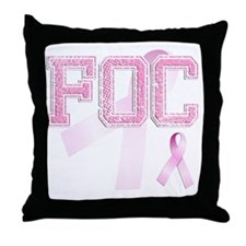 FOC initials, Pink Ribbon, Throw Pillow