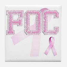 FOC initials, Pink Ribbon, Tile Coaster