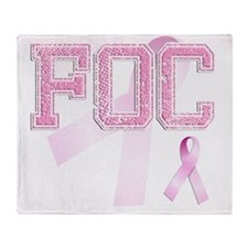 FOC initials, Pink Ribbon, Throw Blanket