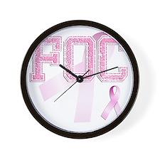 FOC initials, Pink Ribbon, Wall Clock