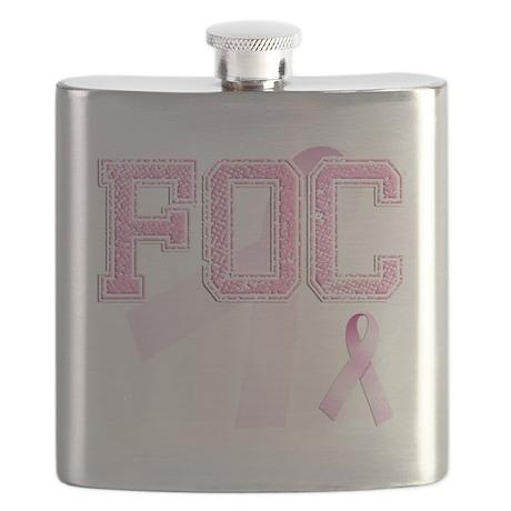 FOC initials, Pink Ribbon, Flask