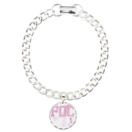 FOC initials, Pink Ribbo Charm Bracelet, One Charm