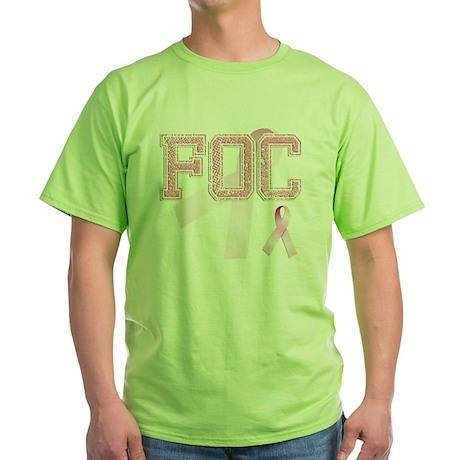 FOC initials, Pink Ribbon, Green T-Shirt