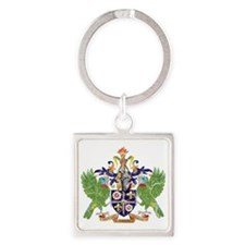 Saint Lucia Coat of Arms cracle Square Keychain