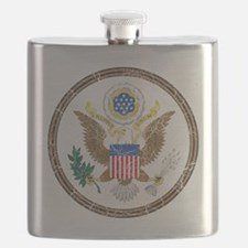 United States Obverse Coat of Arms cracle Flask
