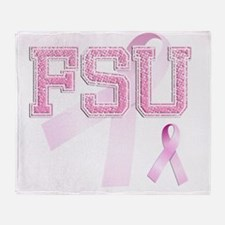 FSU initials, Pink Ribbon, Throw Blanket