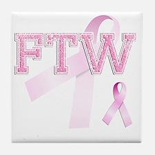 FTW initials, Pink Ribbon, Tile Coaster