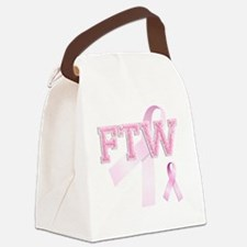 FTW initials, Pink Ribbon, Canvas Lunch Bag