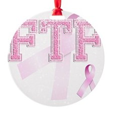 FTF initials, Pink Ribbon, Ornament