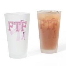 FTF initials, Pink Ribbon, Drinking Glass