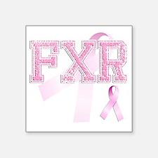 """FXR initials, Pink Ribbon, Square Sticker 3"""" x 3"""""""