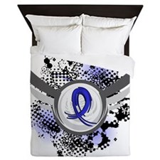 D Child Abuse Blue Ribbon and Wings Queen Duvet