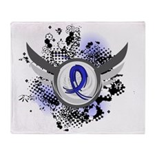 D Child Abuse Blue Ribbon and Wings Throw Blanket