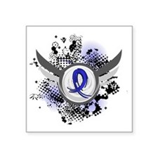 "D Child Abuse Blue Ribbon a Square Sticker 3"" x 3"""