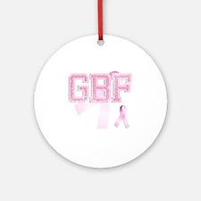 GBF initials, Pink Ribbon, Round Ornament