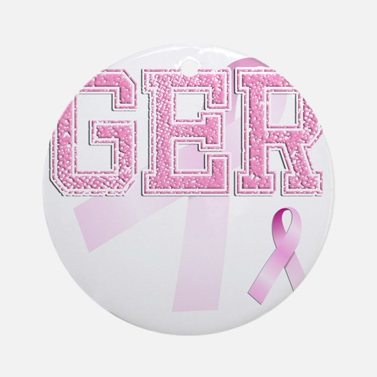 GER initials, Pink Ribbon, Round Ornament