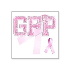 """GFP initials, Pink Ribbon, Square Sticker 3"""" x 3"""""""